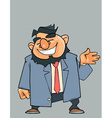 cartoon laughing bearded man in a suit with a tie vector image vector image