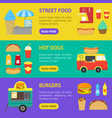 cartoon street food truck stall kiosk banner vector image vector image