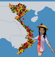 cartoon woman shows on the map country vietnam vector image