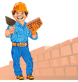 Cheerful bricklayer with brick and trowel vector | Price: 3 Credits (USD $3)