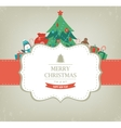 Christmas card with Christmas Tree and Gifts vector image