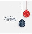 christmas hanging balls greeting background vector image