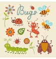 Cute collection of happy little bugs vector image vector image