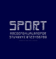 decorative striped sans serif font in sport style vector image vector image