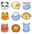 doodle of colorful animal head cute vector image vector image