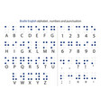 english braille alphabet letters with numbers and vector image vector image