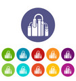 factory icons set color vector image vector image