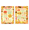 fast food burgers fastfood menu posters vector image vector image