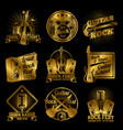 golden rock and roll music labels on black vector image