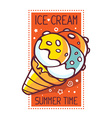 great yellow ice cream with title ice cre vector image vector image
