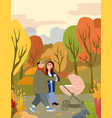 happy family walking in autumn city park with baby vector image vector image