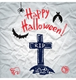 Happy Halloween greeting card with a grave vector image