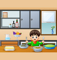 happy little boy holding spoon and fork eating at vector image vector image