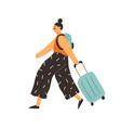 happy woman traveling with suitcase and backpack vector image