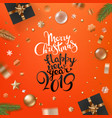 holiday greeting card merry christmas and happy vector image