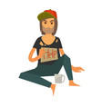 homeless man in cap with cardboard help sign vector image vector image