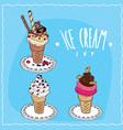 ice cream set in handmade cartoon style vector image