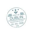 immigration officer visa stamp dublin port vector image vector image