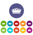 king crown icons set color vector image vector image