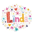 Linda female name decorative lettering type design vector image vector image