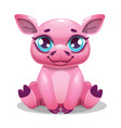 little cute cartoon sitting pig vector image vector image