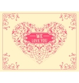 Ornate heart baroque style Elegant element for vector image vector image