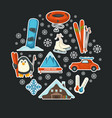 poster with winter sport equipment and mountain vector image vector image