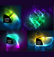 round glowing elements digital techno abstract vector image