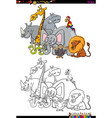 safari animal characters coloring book vector image vector image