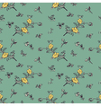 seamless pattern yellow flower green vector image vector image