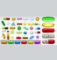 set different pills medicine tablets vector image