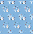 snowman seamless pattern vector image