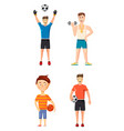 sportsmen icon set cartoon style vector image