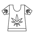 T-shirt with print of cannabis icon outline style vector image vector image