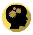 thinking head sign flat black icon with vector image vector image