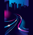 traffic shiny lines of the night city road effect vector image