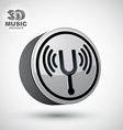 Tuning fork icon isolated 3d music theme design e vector image vector image