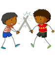 Two boys fighting with swords vector image