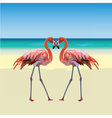 Two flamingo birds forming a shape of a heart vector image vector image
