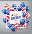 usa flag pattern balloons with 4th july concept vector image vector image