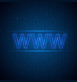 web symbol on a digital background vector image vector image