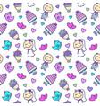 wedding cartoon seamless pattern vector image