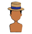 young man shirtless with hat avatar character vector image vector image