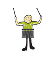man with a musical instrument drum vector image