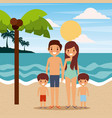 family wearing swimsuits in the beach sea vector image