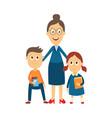 flat cartoon teacher and pupils vector image