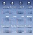 2017 calendar on blue gradient background vector image vector image