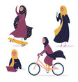 arabic girl in different situations in hijab vector image