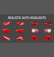 back headlights transparent set vector image vector image