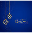 beautiful blue background with golden christmas vector image